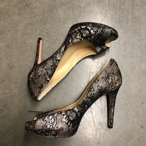 Ivanka Trump black gold open toe pump 9.5